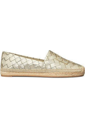 Tory Burch Women's Ines Woven Leather Espadrille Flats - Spark - Size 9