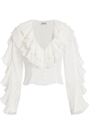 AMUR Women's Deep-V Pleated Ruffle Long Sleeve Blouse - - Size 0