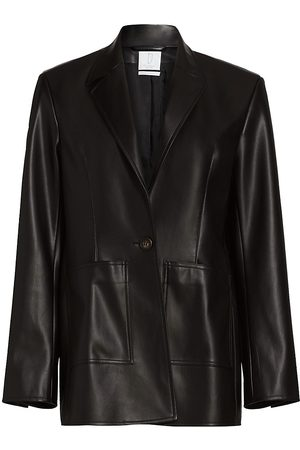 Deveaux New York Women's Quinn Faux Leather Blazer - - Size XL