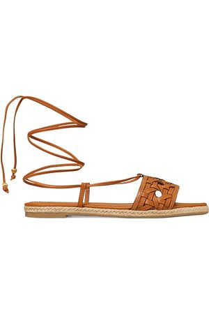 Tory Burch Women's Caning Ankle-Wrap Leather Espadrille Sandals - Aged Camel - Size 6.5