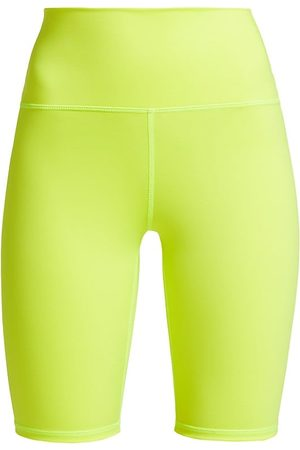 ALICE+OLIVIA Women's Aaron High-Rise Biker Shorts - Neon Key Lime - Size Large