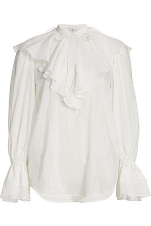 Etro Women's Nashville Ruffle Cotton & Silk Blouse - - Size 4