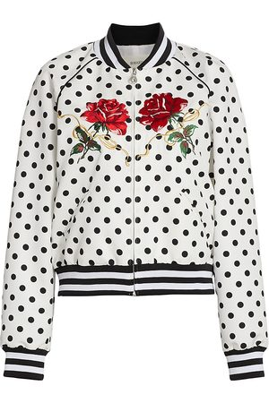 RODARTE Women's Rose-Embroidered Polka Dot Bomber Jacket - And - Size XS