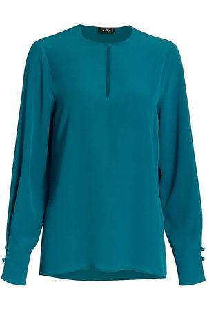 Etro Women's Bakersfield Keyhole Long Sleeve Top - - Size 2