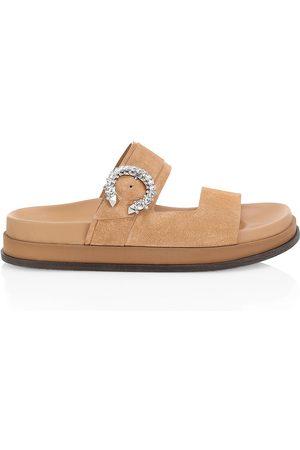 Jimmy Choo Women's Marga Crystal-Embellished Slides - Caramel Crystal - Size 11 Sandals
