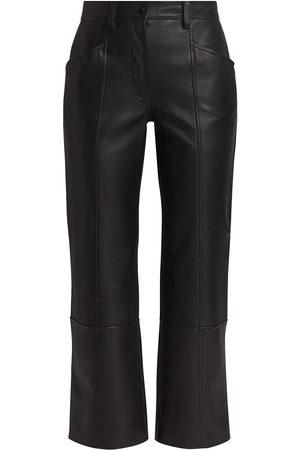 ST. JOHN Women's Straight-Leg Leather Pants - - Size 8