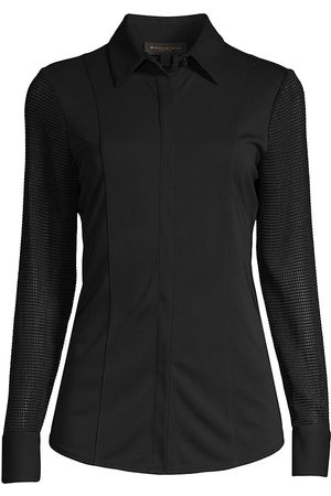 Donna Karan Women's Perforated Long-Sleeve Shirt - - Size Small
