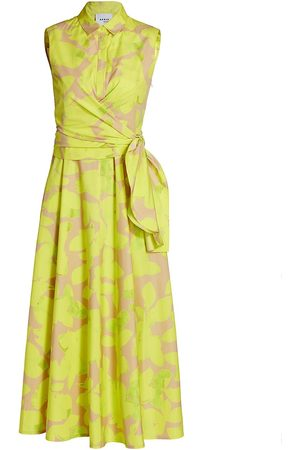 AKRIS Women's Magnolia Sleeveless Printed Poplin Midi Dress - Neon Sand - Size 8