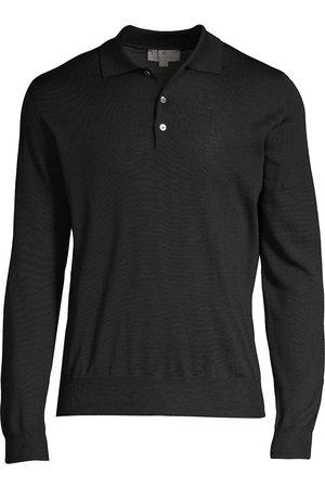 CANALI Men's Modern-Fit Wool Polo Shirt - - Size 48