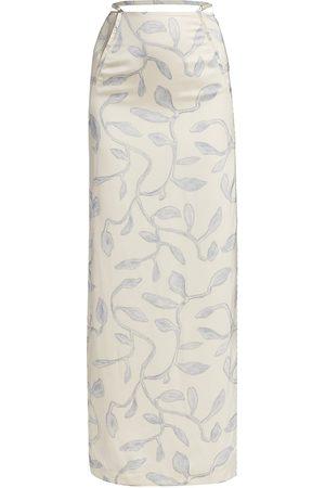 Jacquemus Women's Strap Detail Branch Midi Skirt - Print - Size 2