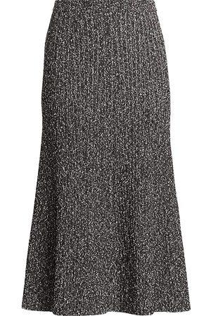 ST. JOHN Women's Tweed Rib-Knit Midi Skirt - - Size Medium