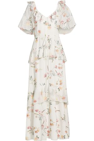 THEIA Women's Floral Embroidered Chiffon Dress - Floral Garden - Size 16