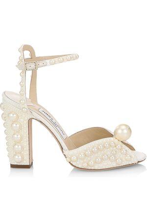Jimmy Choo Women's Sacaria Faux Pearl-Embellished Satin Peep-Toe Sandals - - Size 10