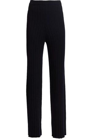 ST. JOHN Women's Ribbed Wool Pants - Navy - Size Small