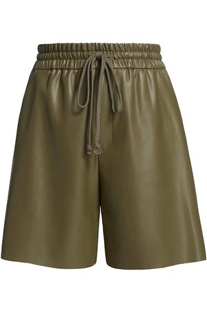 Deveaux New York Women's Brooke Faux-Leather Drawstring Shorts - Olive - Size XS