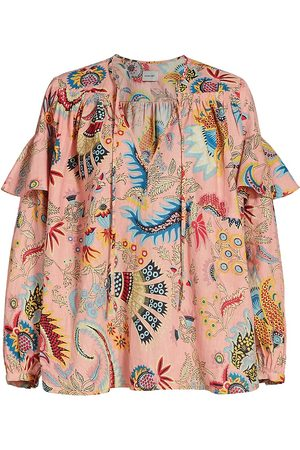 RACHEL COMEY Women's Willow Printed Ruffle Top - Peach - Size 8