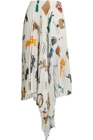 MONSE Women's NYC Scrapbook Pleated Cascade Skirt - Ivory Multi - Size 6