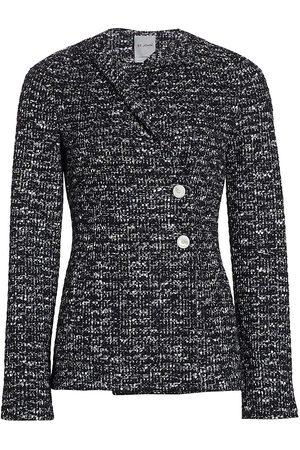 ST. JOHN Women's Binario Tweed Drape Neck Jacket - Multi - Size 16