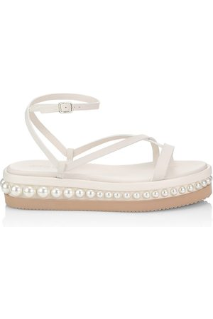 Jimmy Choo Women's Pine Faux Pearl-Embellished Leather Platform Sandals - Latte - Size 10