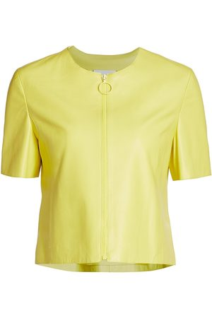 AKRIS Women's Short-Sleeve Leather Jacket - Neon - Size 10