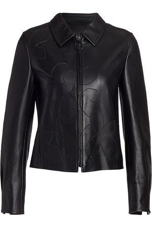 AKRIS Women Leather Jackets - Women's Mangolia Leather Appliqué Jacket - - Size 8