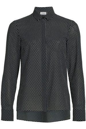 AKRIS Women's Pin Dot Button-Down Blouse - Navy - Size 10