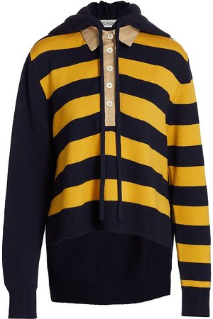 MONSE Women's Rugby Striped Knit Hoodie - Dijon Multi - Size Large