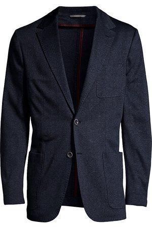 CANALI Men's Herringbone Woven Sportcoat - Navy - Size 38