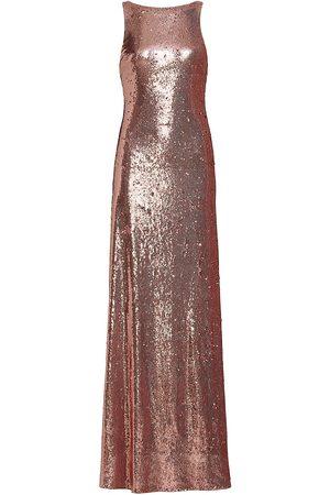 Halston Heritage Women's Madden Metallic Sequin Twist-Back Gown - Rose - Size 6