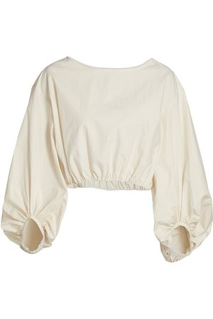 Deveaux New York Women's Selena Blouson Top - Ecru - Size XL