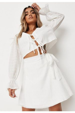Missguided Co Ord Cheesecloth Wrap Over Mini Skirt
