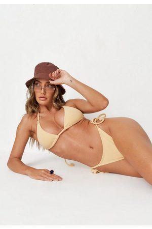 Missguided Nude Towelling Triangle Bikini Top