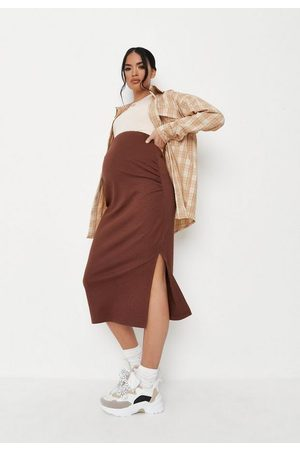 Missguided Chocolate Rib Split Side Maternity Midi Skirt