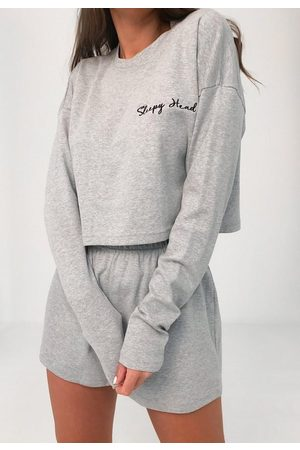 Missguided Sleepy Head Sweatshirt And Shorts Loungewear Set