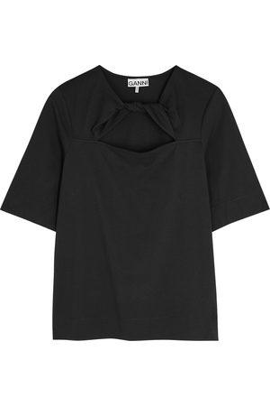 Ganni Women T-shirts - Twist-effect cotton T-shirt