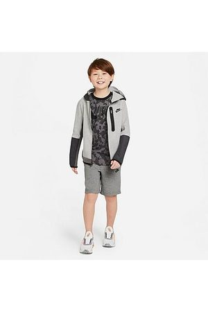 Nike Boys Sports Shorts - Boys' Sportswear Tech Fleece Shorts in Grey/Dark Grey Heather Size Small 100% Cotton/Polyester/Fleece