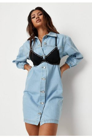 Missguided Light Wash Fitted Denim Dress