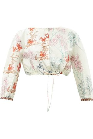 LE SIRENUSE, POSITANO Jinny Spring Flowers-print Cotton Cropped Top - Womens - Print