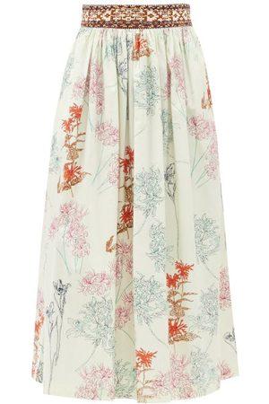 LE SIRENUSE, POSITANO New Jane Spring Flowers-print Cotton Midi Skirt - Womens - Print