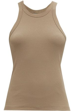 Totême Ribbed Organic-cotton Blend Jersey Tank Top - Womens - Mid Grey