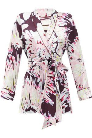 HALPERN Women Wrap tops - Tie Dye-print Satin Wrap Shirt - Womens - Multi