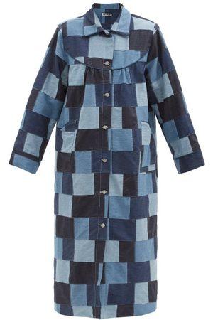 BATSHEVA House Crystal-button Patchwork-denim Coat - Womens - Mid Denim