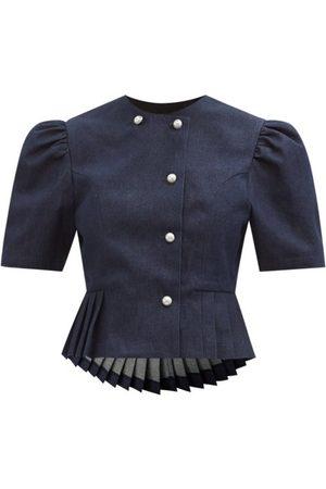 BATSHEVA Kat Peplum-hem Denim Jacket - Womens - Dark Denim