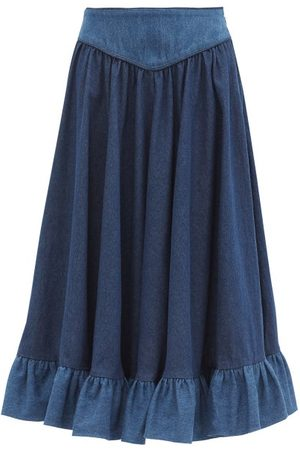 BATSHEVA High-rise Ruffled Denim Midi Skirt - Womens - Dark Denim