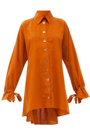 HALPERN Women Casual Dresses - Tie-cuff Belted Linen-blend Shirt Dress - Womens