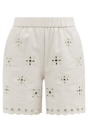 RED Valentino Women Shorts - Cutout-embroidered Leather Shorts - Womens