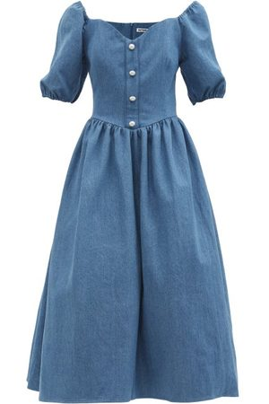 BATSHEVA Minnie Denim Midi Dress - Womens - Mid Denim