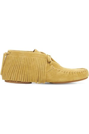 Loewe Fringed High Top Suede Loafers