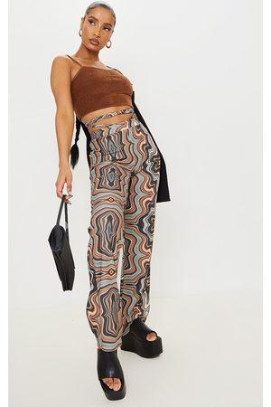 PrettyLittleThing Women Straight Leg Pants - Marble Tie Waist Straight Leg Pants