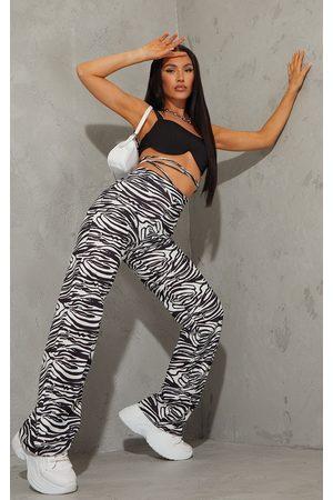 PRETTYLITTLETHING Zebra Tie Waist Straight Leg Pants
